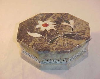 Carved Soapstone Covered Box with Inlay Flower Top Cover