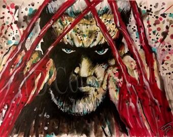 Old man logan print, wolverine, x-men prints watercolors, comics art prints marvel art, comics poster, comics art, art prints, DC comics