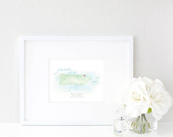 Puerto Rico Watercolor Map | Destination Map Print | Personalized Watercolor Map | Honeymoon Map | Anniversary Map | Watercolor Wedding Map