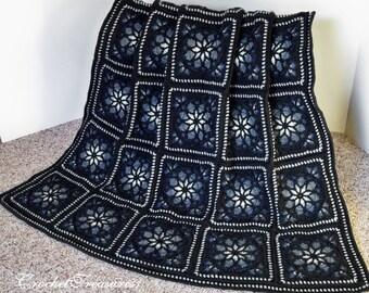Winters Night Sky Stained Glass Afghan / blue throw blanket / crochet afghans / new handmade / winter blanket / snowflake afghan / warm soft