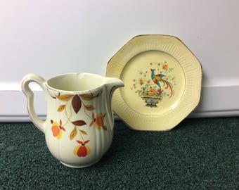 Hall Autumn Leaf Cream Pitcher and Antique Small Plate