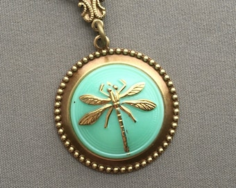Dragonfly Necklace - Dragonfly Pendant - Dragonfly Jewelry - Mint Necklace - Mint Jewelry - Glass Pendant - Dragonflies - Spring Jewelry