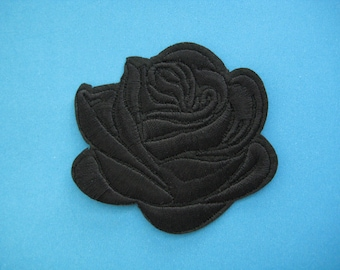 Iron-On embroidered Patch Black Rose 3 inch
