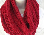 Chunky Spiral Rib Cowl in Cranberry (Red) READY TO SHIP