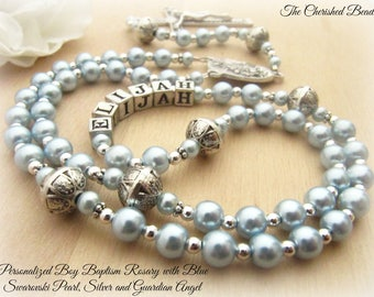 Personalized Baptism Boy Guardian Angel Rosary with Swarovski Pearl & Silver Rosary - Catholic Sacramental Keepsake