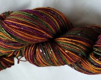 "Hand Dyed Donegal BFL/Nylon Fingering Yarn  100 Grams  ""Bordeaux Mine"""