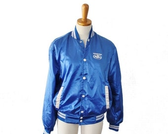 50% half off sale // Vintage 70s RARE Blue Satin Sugar Free Dr Pepper Snap Button Jacket - Men S Women M - Horizon