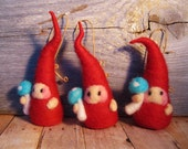 Red gnome with mushroom needlefelted wool ornament perfect for the christmas tree or stocking stuffer