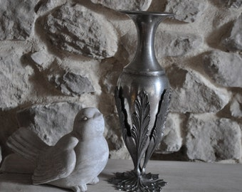 French Pewter Vase or Carafe In Ornate Stand