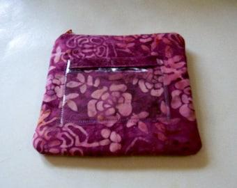 Plum Floral Batik Zipper Change Purse