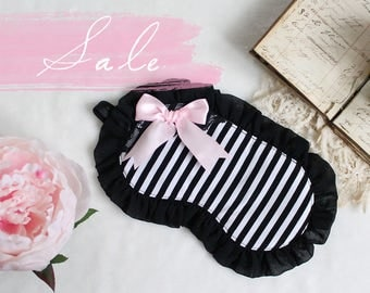 Black and White Stripe Lolita Boudoir Oversized Sleep Mask With Chiffon Ruffle and Pink Satin Bow OOAK SALE
