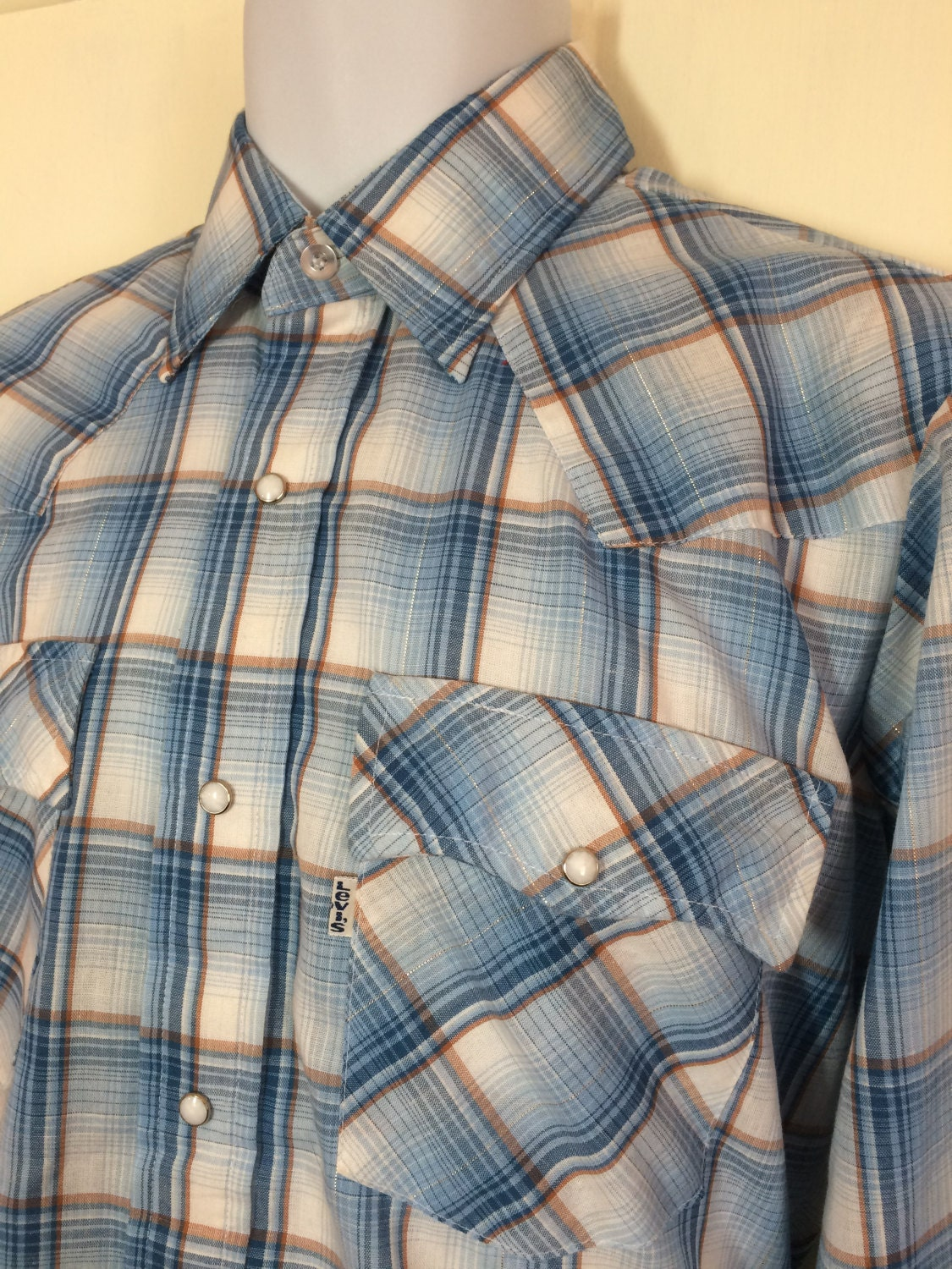 Light blue and white western shirt with metallic silver thread.