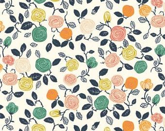 Organic KNIT Fabric - Birch Hidden Garden Knits - Roses Cream Knit LAST ONE