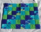 Medium fleece dog blanket - blue/lime argyle