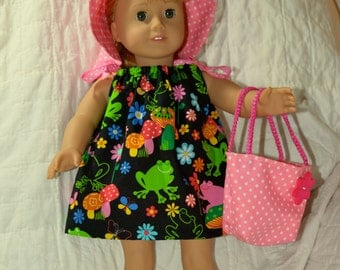 18 Inch Doll Clothes Four Piece Outfit Frog Print Pillowcase Dress, Pink Polka Dot Floppy Brim Hat, Panties and Totebag by SEWSWEETDAISY