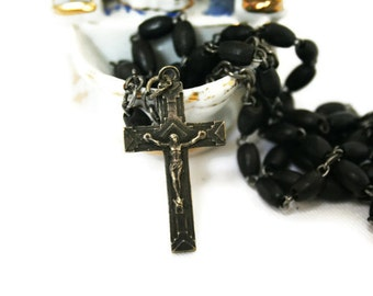 Vintage Black and Silver Wooden Bead Rosary / Wooden Black and Silver Prayer Beads / Catholic Religious Beads