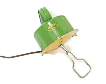 Vintage Hand Mixer in Green and Yellow / Working Hand Held Electric Beater for Kitchen Decor / Food Photography / Stage or Movie Prop
