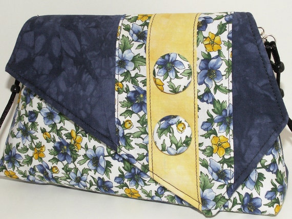 Handmade cotton shoulder bag, purse. Blue, orange, yellow, green. Sunny Garden Artisan Bag by Lella Rae on Etsy