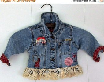 ON SALE Denim & Lace,Altered Upcycled Sustainable Toddler Denim Jacket,Vintage Lace,Vintage Sack Cloth Yoyo, Vintage Hankie by Wild Hollyber