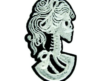 Haunted Mansion Skeleton Cameo Patch Iron on Applique Goth Clothing Lady of Death - DYS-PA-229-PATCH
