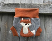 Upcycled  Merino Wool Soaker Cover Diaper Cover With Added Doubler Orange / Gray With Fox Applique NEWBORN 0-3M Kidsgogreen
