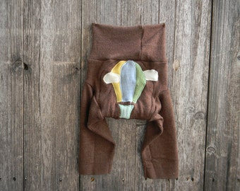 SMALL Upcycled Merino Wool Longies Soaker Cover Diaper Cover With Added Doubler Brown With Hot Air Ballon Applique SMALL 3-6M