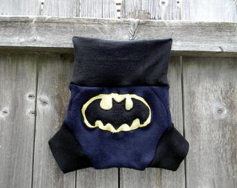 Upcycled Merino Wool Soaker Cover Diaper Cover With Added Doubler Navy Blue /Black With Batman Applique MEDIUM 6-12M Kidsgogreen