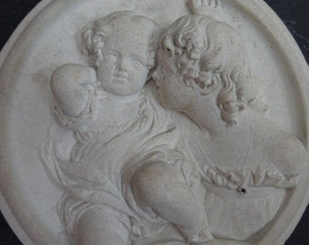 Vintage Chalkware Plaster Wall Plaque - Children Whispering - Cherubs - Sisters Whispering - Bas Relief