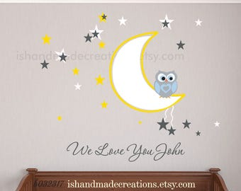 Owl Wall Decal, Owl Moon and  Stars  owl nursery kids wall sticker owll wall decals