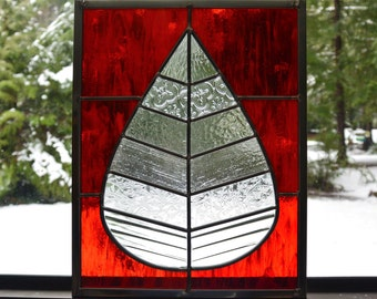 Stained Glass Leaf Window - in Red & Clear Textured Glass