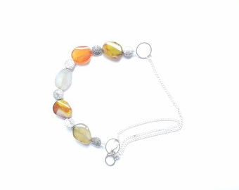 Florence - Clear Colorful Necklace with Silver Chain, toggle clasp