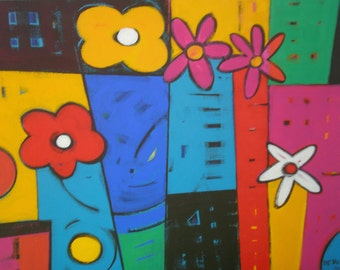 "Original acrylic painting 18""x24"" - Many Vases"