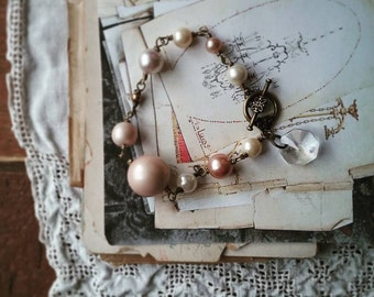 Pearl Charm Bracelet, Beaded Bracelet Made With Vintage Pink Faux Pearls and a Chandelier Crystal, Boho Chic Jewelry for Women
