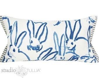 Bunny Fabric - Hutch Print Navy - Hunt Slonem - Lee Jofa - Groundworks - Lumbar - 11X21 - Lumbar - ready to ship