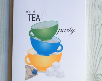 It's a Tea Party Tea Cup Card, Invitation, Blank Card, Greeting Card, All Occasion Card