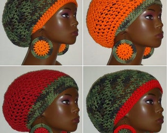 CLEARANCE 100% Cotton Camouflage Crochet Berets Tams with Earrings by Razonda Lee Razondalee Ready to Ship