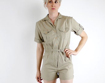 Vintage 80's Dune Duds brand safari styled romper, khaki / tan color, lightweight 100% cotton, button closure, elastic waist - Small