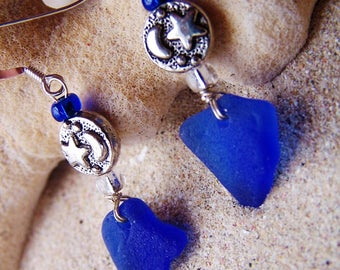 Sea Glass/Beach Glass Earrings in Cobalt Blue with Silver Coated Pewter Moon and Stars Beads on Sterling Silver French Ear Wires EB 37