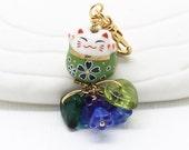 Happy Cat Phone Charms - Green Maneki Neko,  Lucky Cat Bead, Headphone Jack Dust Plug, Lanyard or Swivel Clasp for a Purse Charm
