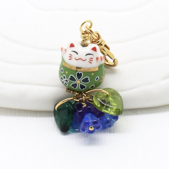 happy cat phone charms green maneki neko lucky cat bead