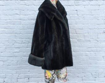 Vintage Mid Century Faux Fur Swing Coat  brown  medium large