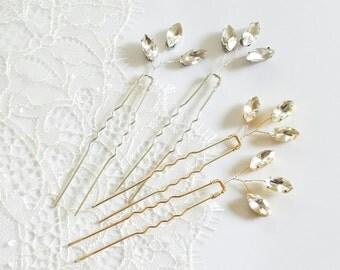 Bridal crystal hair piece, Crystal Hair pin, Gold Bridesmaid Hairpin, Bridal Hair Comb Accessory, Gold Wedding Hair comb {Rhea Hairpin}