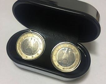 Germany cufflinks- Handmade German 1 Euro Cufflinks-Mint coins used