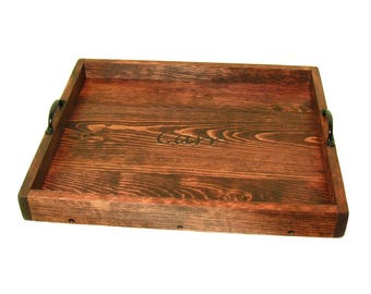Wooden Serving Tray, Ottoman Tray, Large Wood Coffee Table Tray, Decorative Wood Tray, Engraved Gift, Personalized Gift, Engraving Available