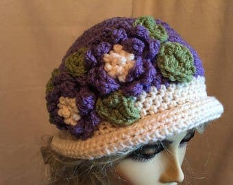 Lovely Flowered Hat.....Lavender and Ivory Crocheted Delight