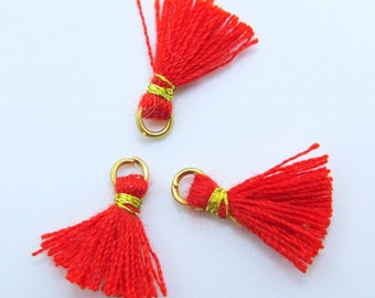 Mini Cotton Jewelry Tassels with Gold Binding and Gold Plated Jump Ring - Red - 3 pcs - Approx 10mm - MT3