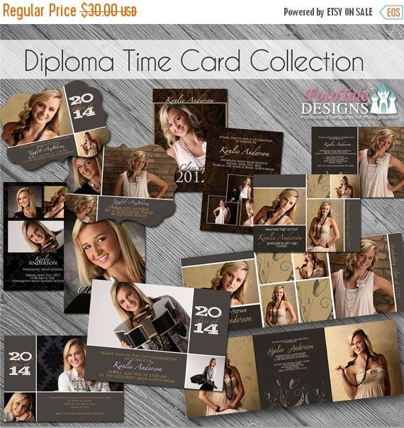 SALE INSTANT DOWNLOAD - Diploma Time Graduation Announcement Set- Set of 6 custom photo templates on Whcc and Pro Digital Photos Specs