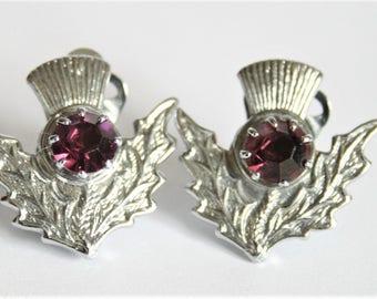 Vintage Scottish thistle earrings.  Clip on earrings.  Purple crystal earrings