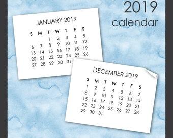 2019 Calendar Clip Art in Sans Serif Font - Instant Download - Mini Calendar