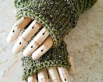 Wildling Knits Pair of Luxurious Olive Green Arm Warmers Ready to Ship